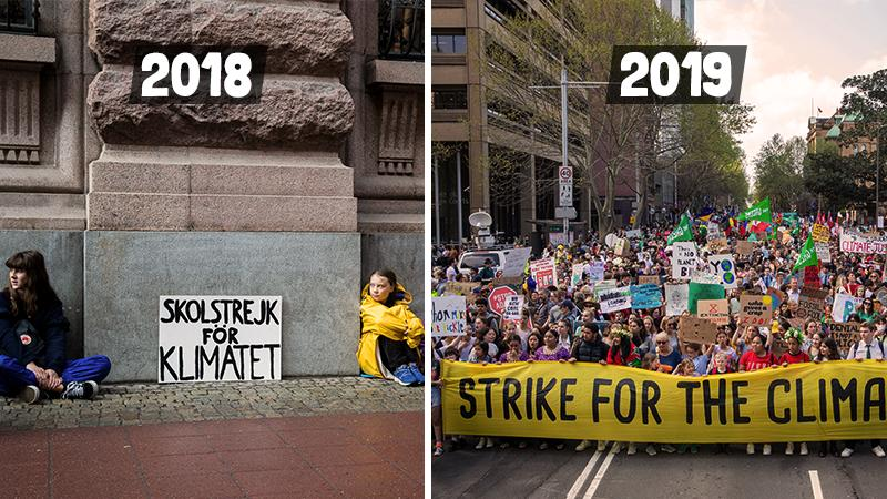 Climate Strikes one year apart. © Greenpeace