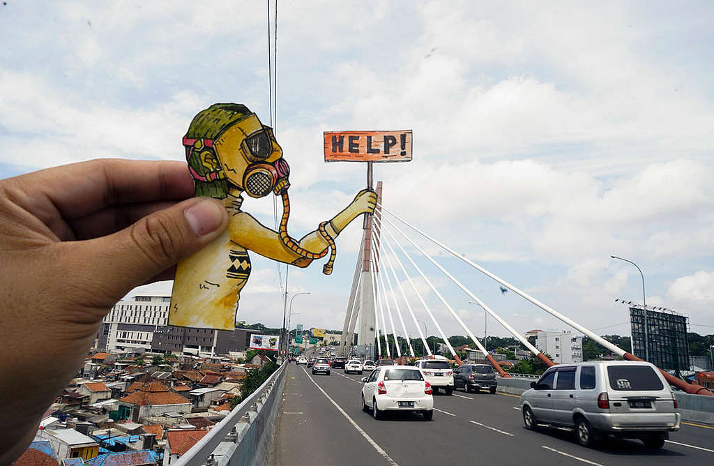 Clean Air Now Photo Op in Bandung. © Djuli Pamungkas / Greenpeace