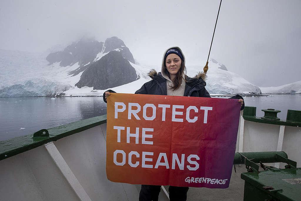 Marion Cotillard in Antarctica. © Abbie Trayler-Smith / Greenpeace