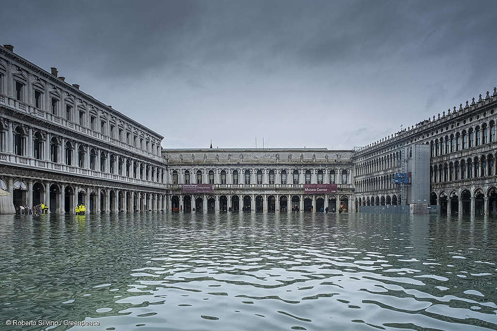Picture showing a flooded Venice.