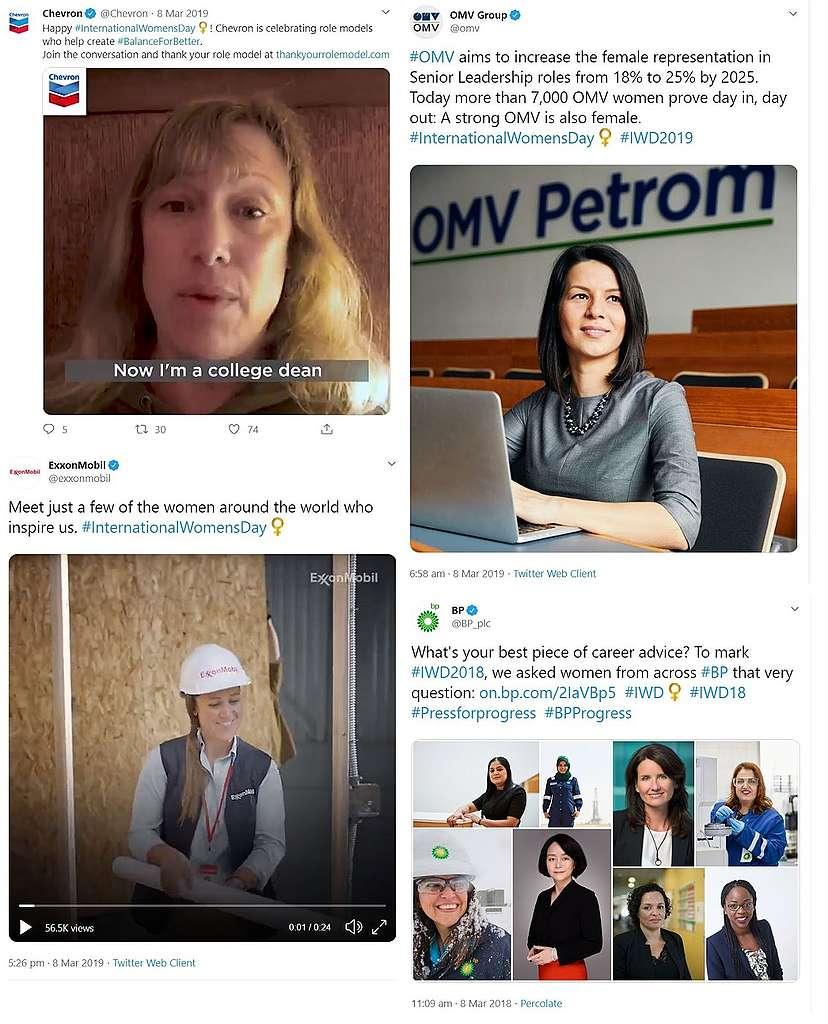 screenshot of genderwashing tweets from Chevron, OMV, Total, Exxon for International Women's Day