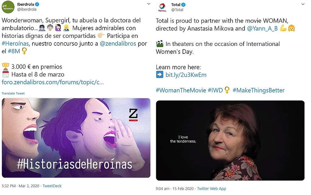screenshot of two tweets from Total and Iberdola organizing competitions, or sponsor cultural events like film launches for International Women's Day