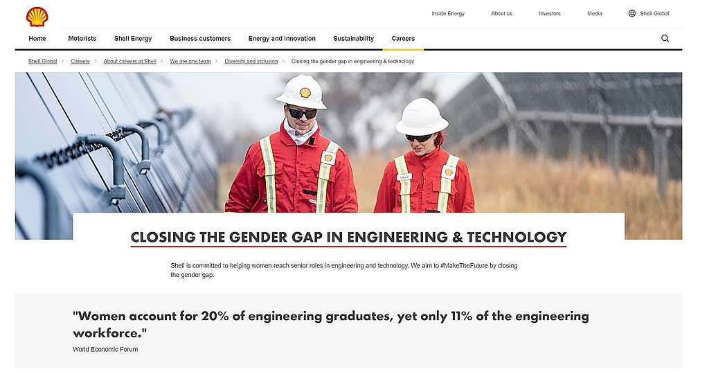 """screenshot showing a page from Shell's official website dedicated to """"closing the gender gap in engineering and technology"""""""