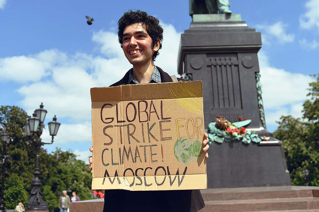 Lone Climate Strike Protester Arshak Makichyan in Moscow.