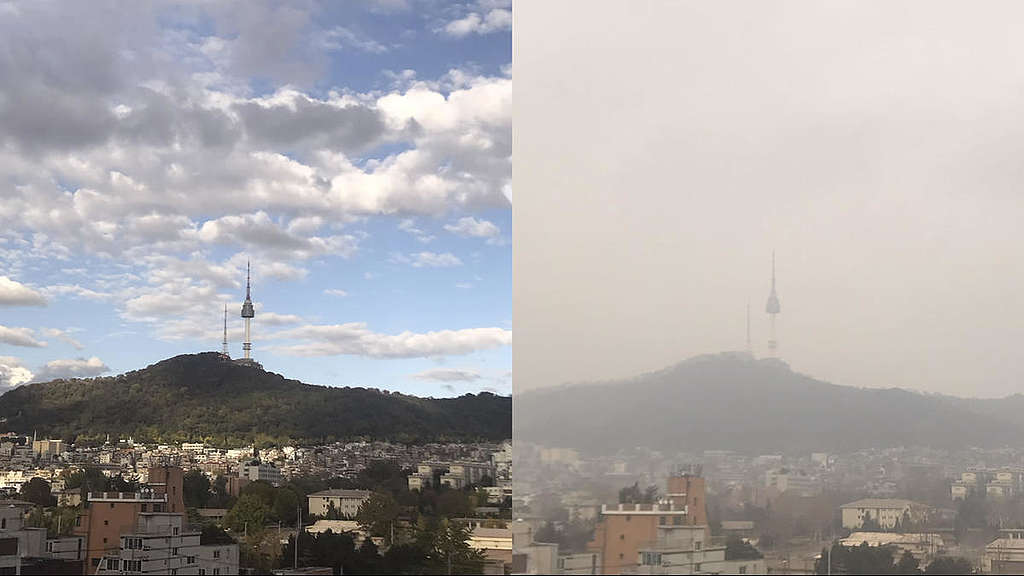 Namsan in Serious Ultrafine Dust. © Soojung Do / Greenpeace