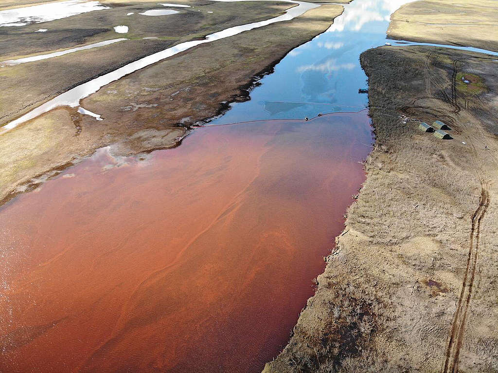 Spilled fuel products near Norilsk, flowing toward the Pyasina river. © Anonymous / Greenpeace