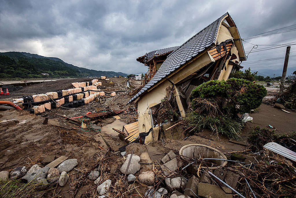 Hitoyoshi city, Kumamoto Pref, Japan - A rainy season front caused heavy downpours across large areas of Kyushu. Flooding and landslides caused extensive damage, particularly in Kumamoto Prefecture. Dozens of people have been killed and more than one million people have been ordered to evacuate. ©  © Masaya Noda / Greenpeace