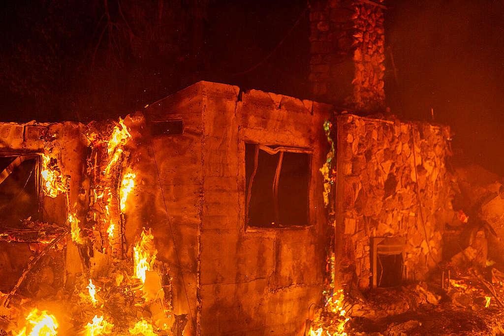 California Pine Canyon Lake Fire. © David McNew / Greenpeace