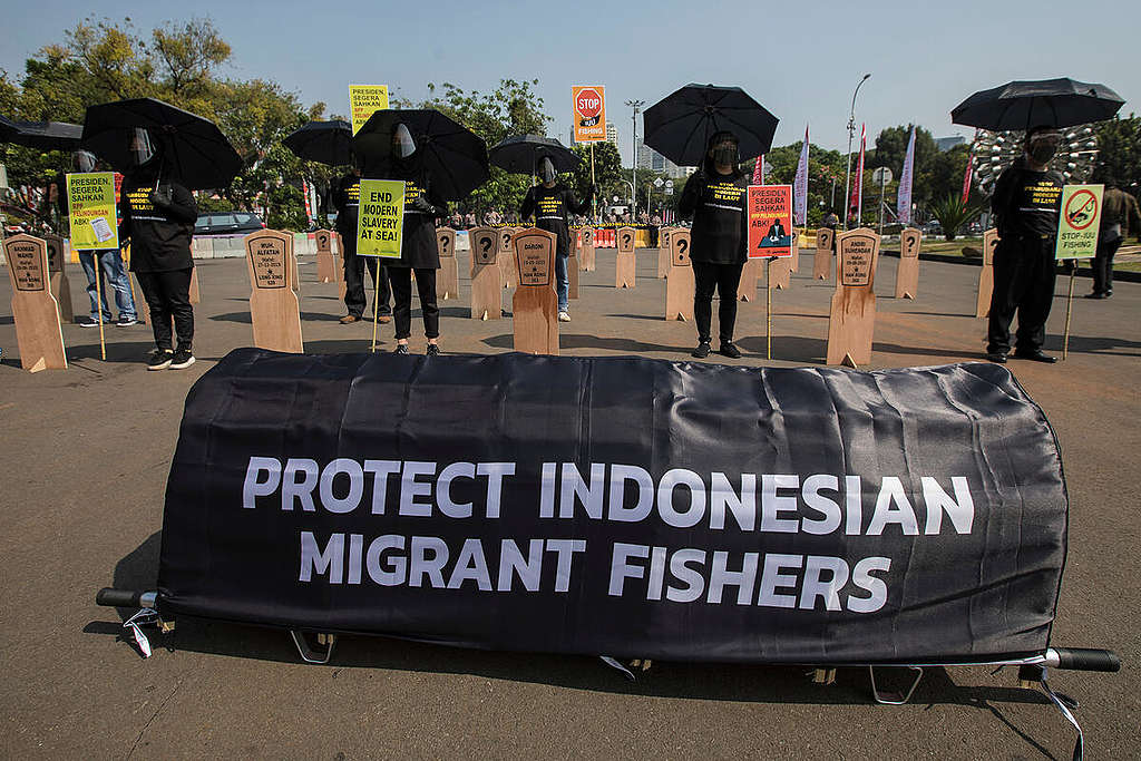 Modern Slavery Of Indonesian Fishers Protest in Jakarta. © Adhi Wicaksono / Greenpeace