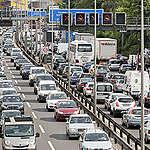 Slow traffic on motorway in Berlin.
