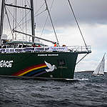 Rainbow Warrior Joins Sailing Protest against Oil Refinery Expansion in Sweden. © Andrew McConnell / Greenpeace