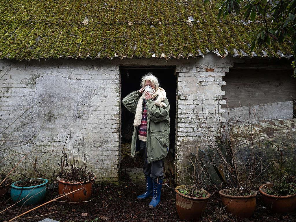 Woman Living near Vandvaerksgaarden Factory Farm, Denmark. © Greenpeace / Wildlight / Selene Magnolia