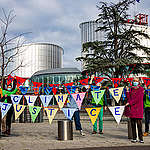 Senior Swiss Citizens File Action at European Court of Human Rights in Strasbourg. © Greenpeace / Emanuel Büchler