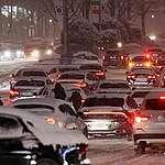 Heavy snow jams the road in Seoul, South Korea