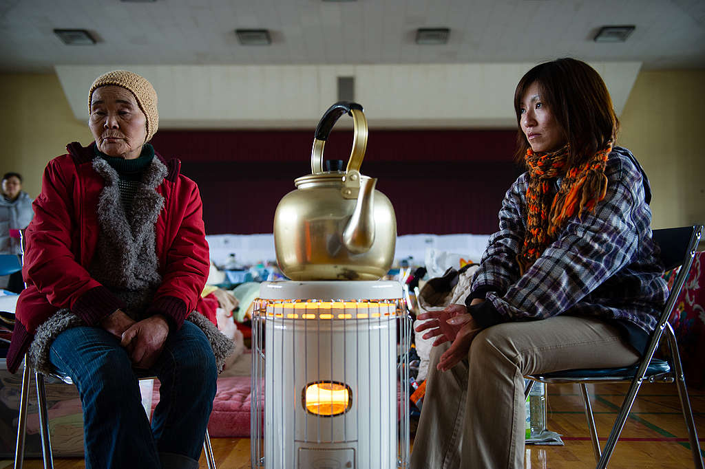 Women at a Shelter in Yonezawa. © Christian Åslund / Greenpeace
