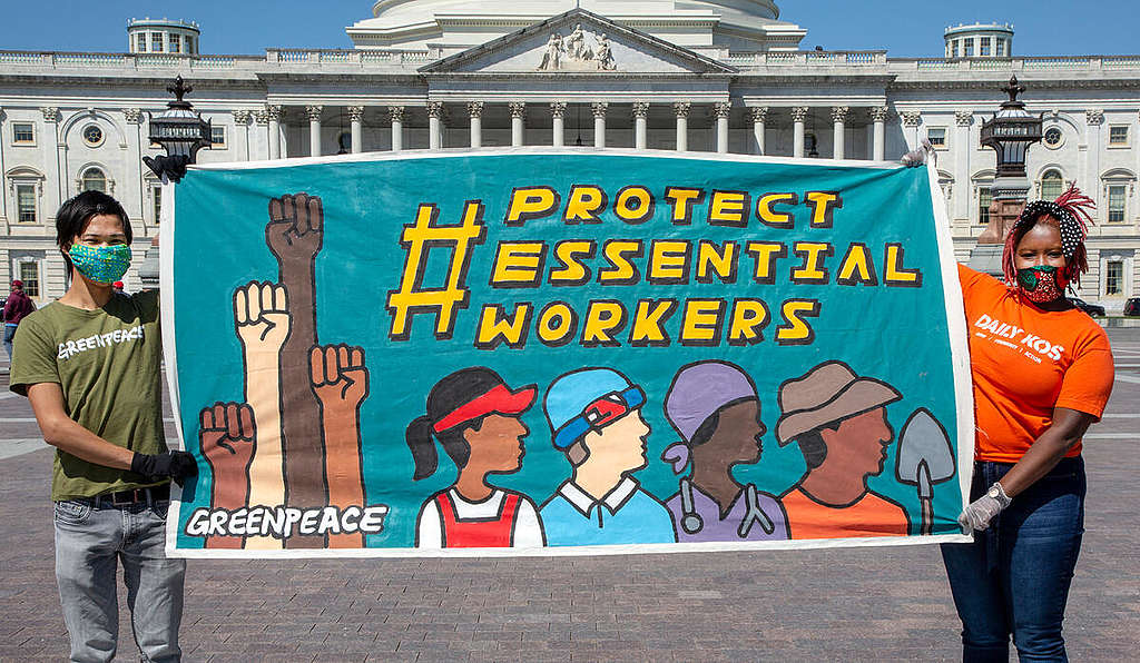 Essential Workers Support On Capitol Hill. © Tim Aubry / Greenpeace