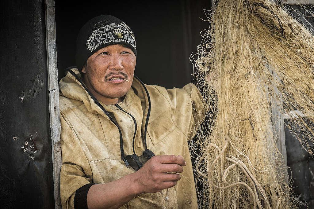Fisherman in Russia. © Greenpeace / Dmitry Sharomov