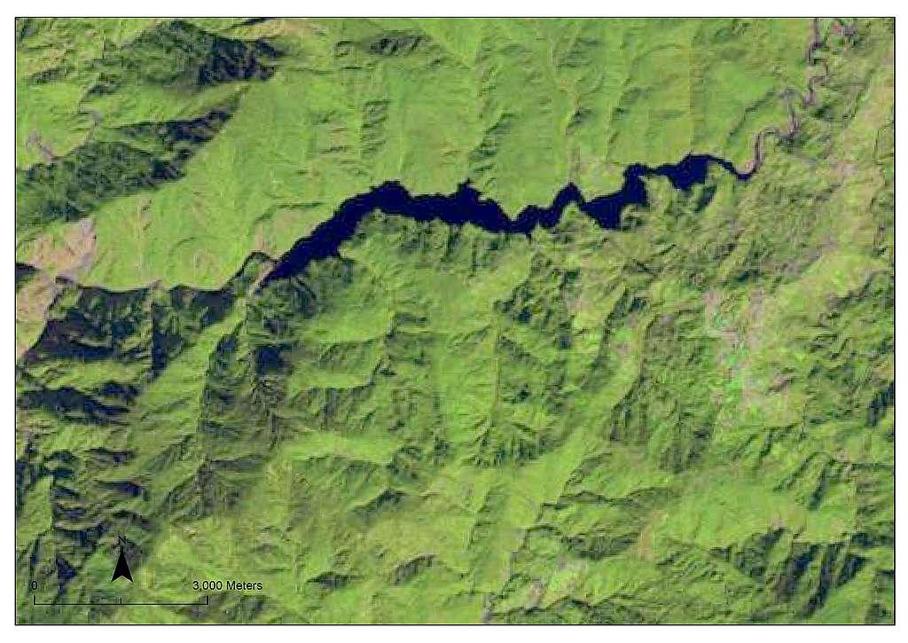 Satellite image of Taiwan's Techi reservoir taken on Nov. 11, 2019.