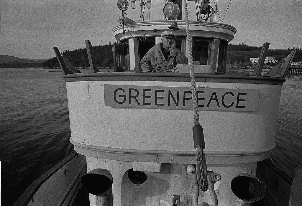 Captain John Cormack on bridge of Phyllis Cormack. © Greenpeace / Robert Keziere