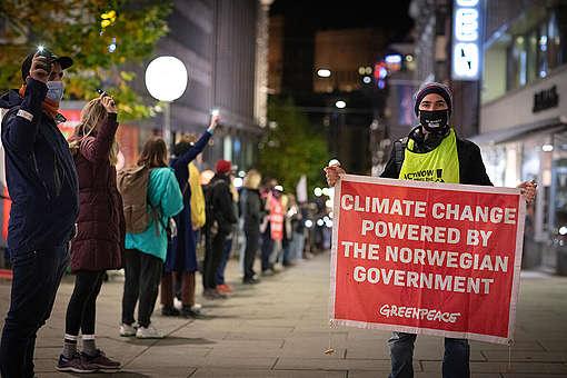 People vs Oil Protest at Norwegian Parliament in Oslo. © Johanna Hanno / Greenpeace
