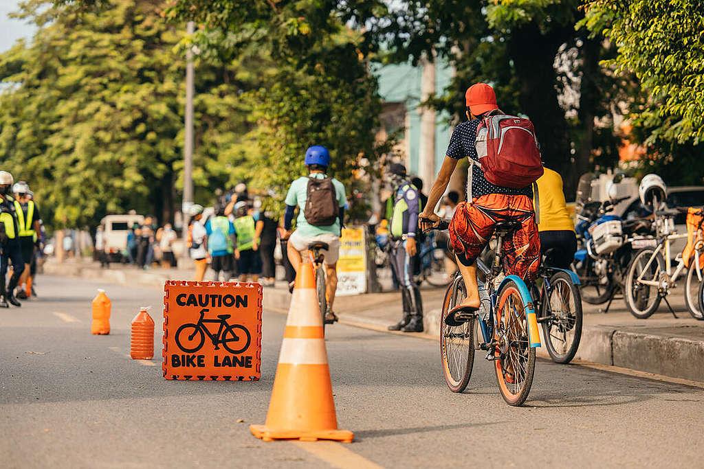 Pop-Up Bike Lanes In Manila. © Jilson Tiu / Greenpeace