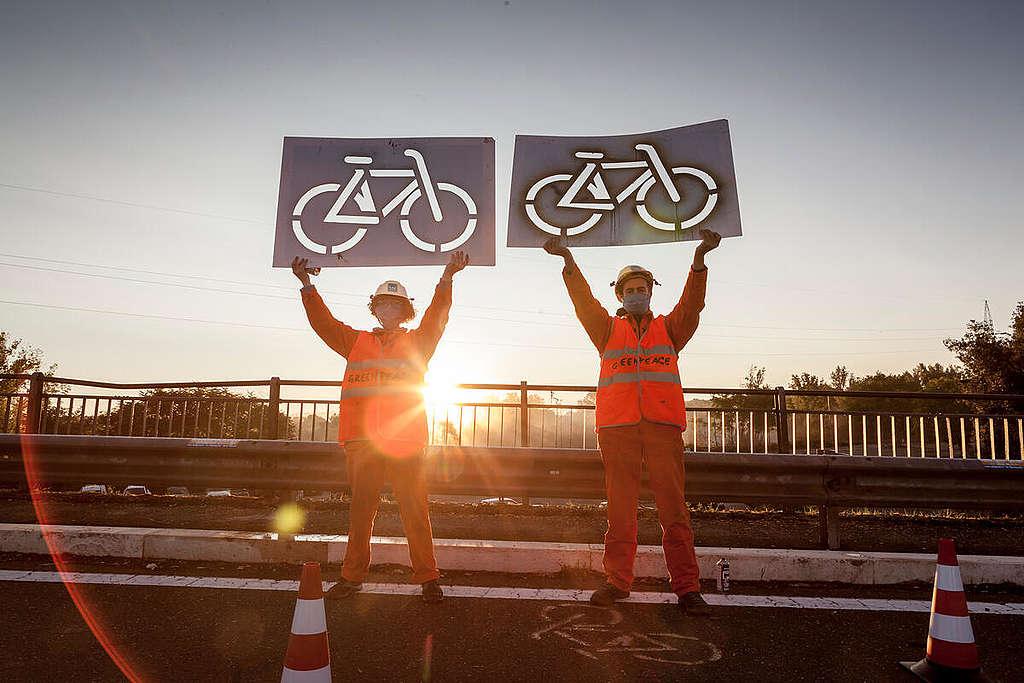 Urban Mobility Action in Rome. © Francesco Alesi / Greenpeace