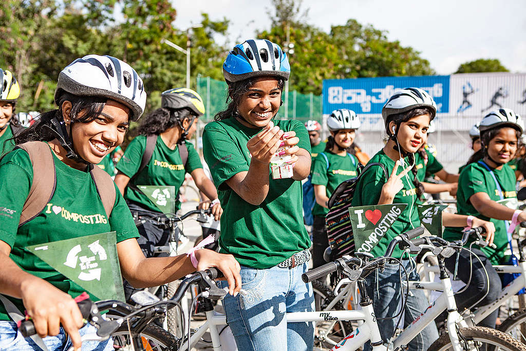 Cyclothon Event called 'Cycle of Life' in Bangalore. © Greenpeace / Sajan Ponappa