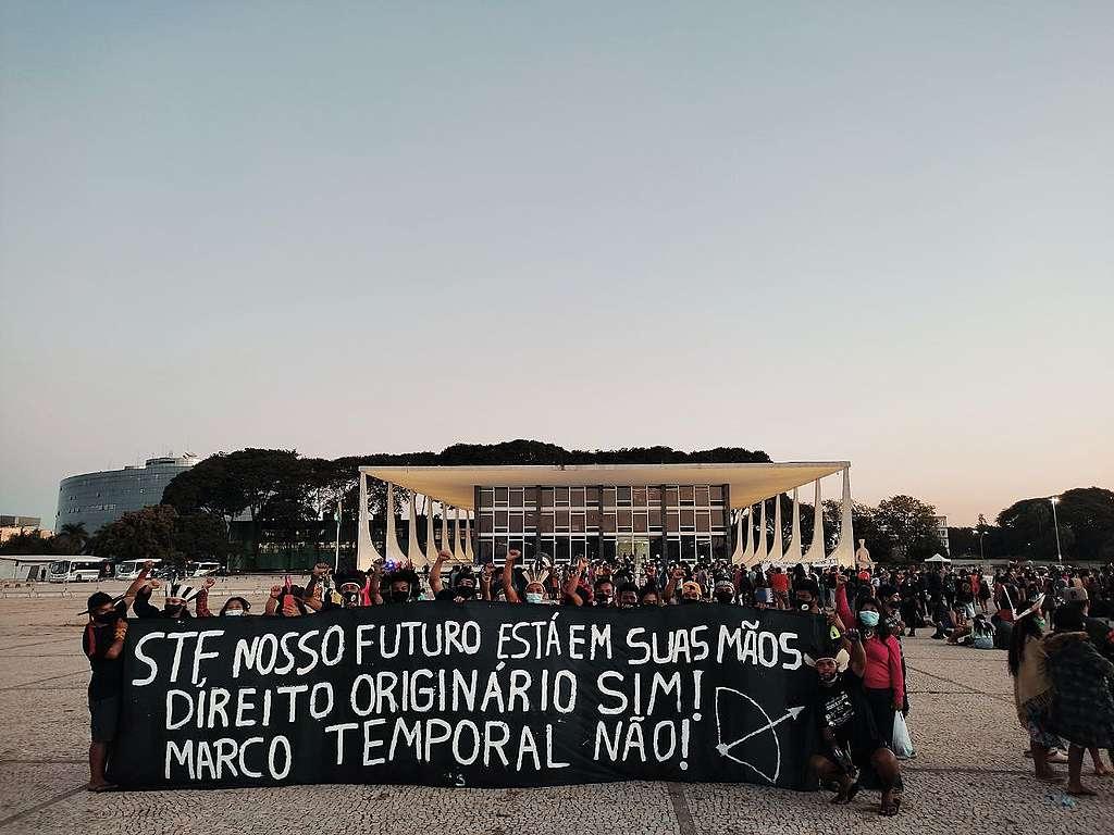 Indigenous Peoples protest in Brasilia, Brazil.