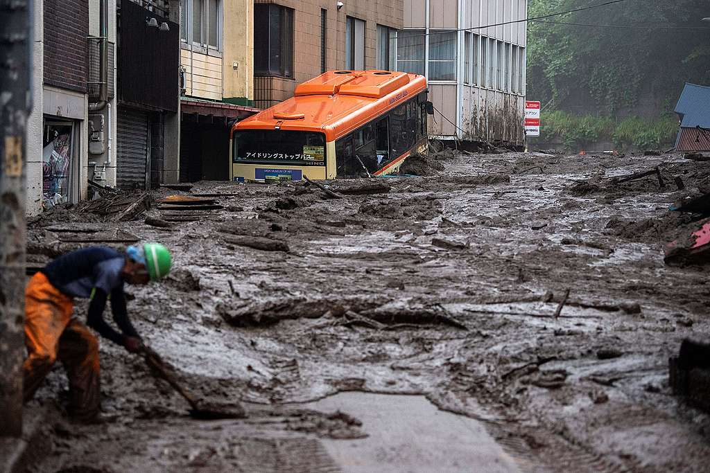 Mud and debris at the scene of a landslide following days of heavy rain in Atami in Shizuoka Prefecture, Japan © Charly Triballeau/AFP/Getty Images
