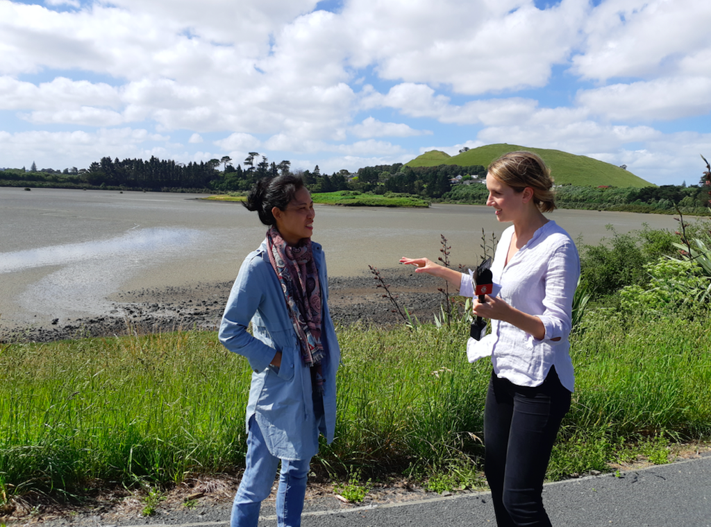 Pua Lay Peng being interviewed by an international media outlet to discuss the plastic pollution problem.