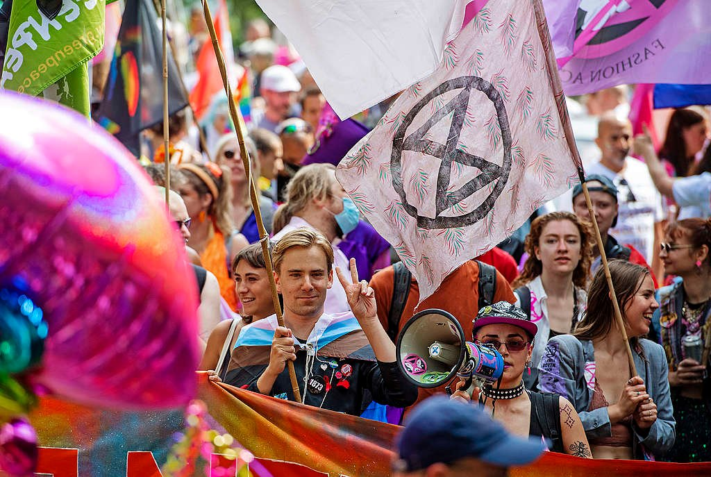 Picture showing Diederick van den Ende from Greenpeace Netherlands walking with Pride in Amsterdam