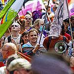 Diederick van den Ende walking with Pride. © Marten van Dijl / Greenpeace
