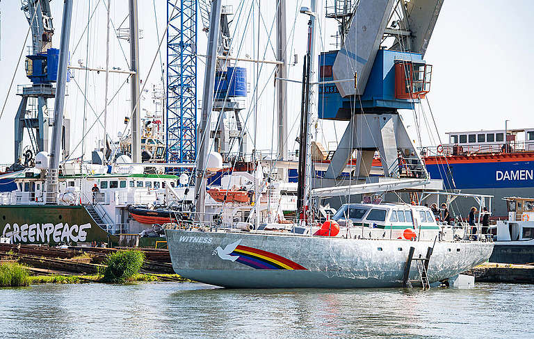 New Sailboat Pelagic Australis Transformed into SY Witness in Amsterdam. © Marten  van Dijl / Greenpeace