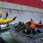 Action against Gazprom's Arctic Drilling. © Denis  Sinyakov / Greenpeace