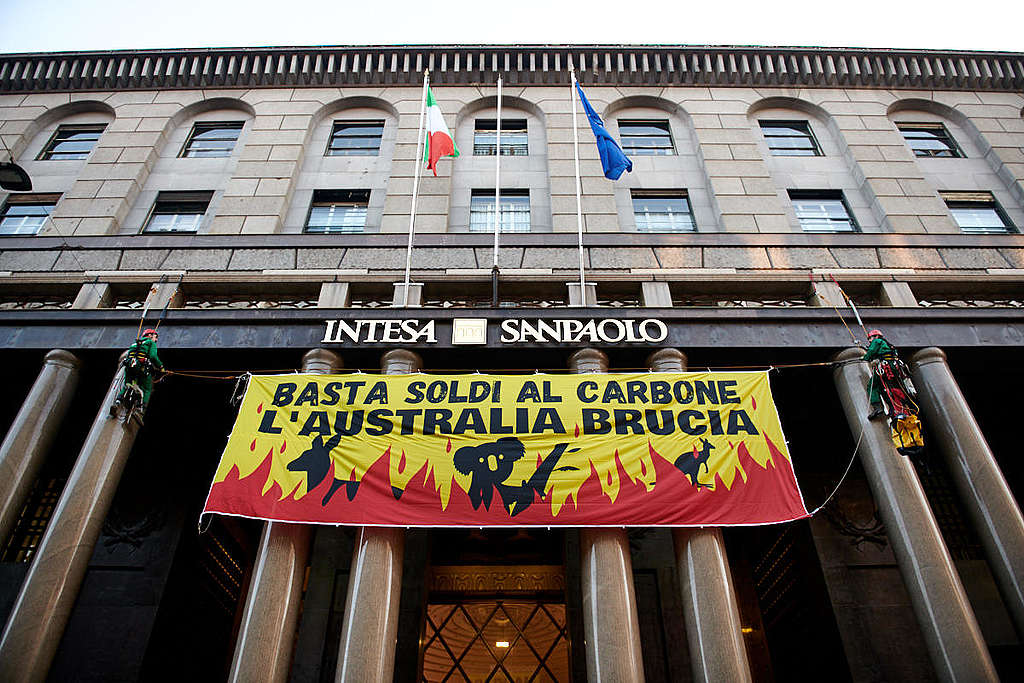 Action at Intesa Sanpaolo Headquarters in Milan against Coal Funding. © Greenpeace / Alessandro Vona