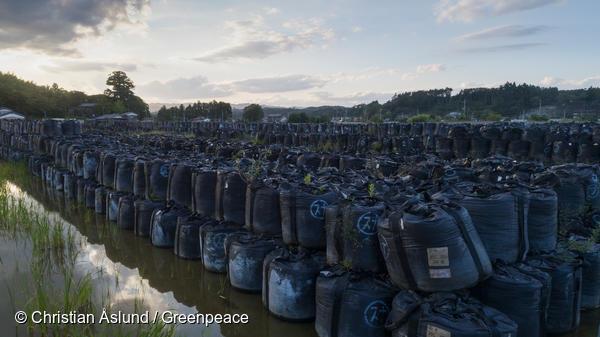 일본 후쿠시마현의 노지. 방사선에 노출된 토양을 담아놓은 검은 봉투들이 쌓여있다.