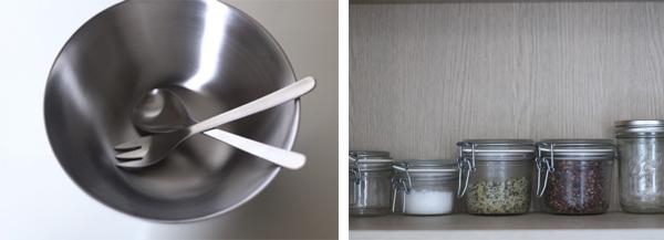 주방에서 사용중인 스테인리스식기 및 유리 병들 ©jeonjaeeun
