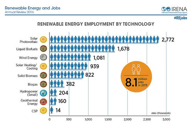 2015년 한 해 재생가능에너지로 인한 일자리는 810만개에 달했습니다./ 출처: 국제재생가능에너지기구(IRENA)