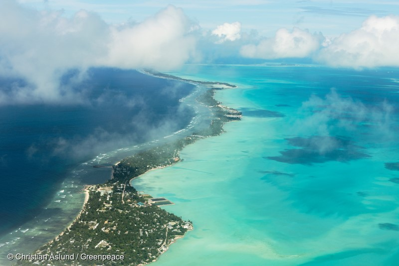 Tarawa Island, Kiribati, Pacific OceanKiribati, is a group of Islands in the Pacific Ocean where the rising ocean is slowly encroaching on their community. Kiribati is at risk of disappearing because of sea level rise caused by melting sea ice and and ice sheets in Greenland and Antarctica.