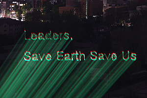 Call for Climate Action Projection near Namsan Mountain in Seoul. © Greenpeace / Jean Chung