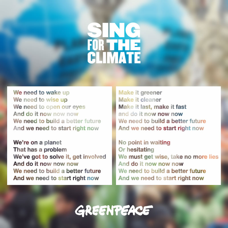 Songtext Sing for the Climate Do It Now