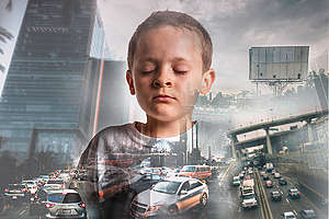 Photomontage for Children and Air Pollution Initiative in Mexico. © Aarón Borrás