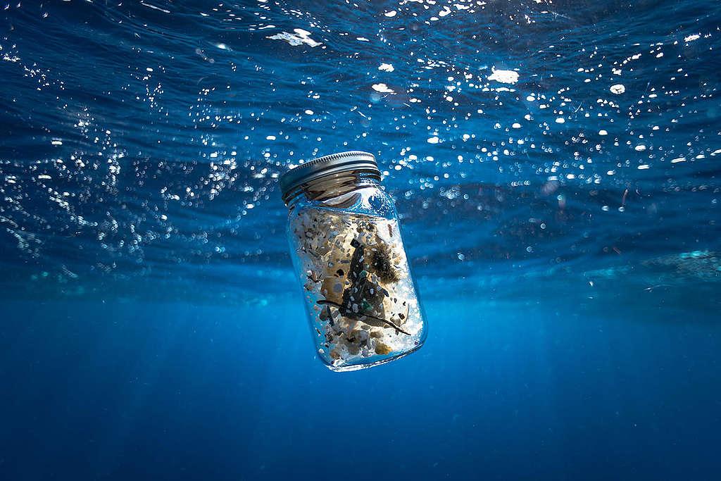 Plástico encontrado en el mar © Justin Hofman