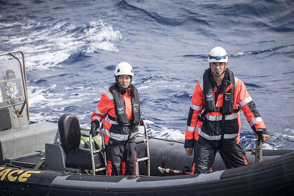 Botes del barco Esperanza investigando la sobrepesca de tiburones en el Norte del Océano Atlántico