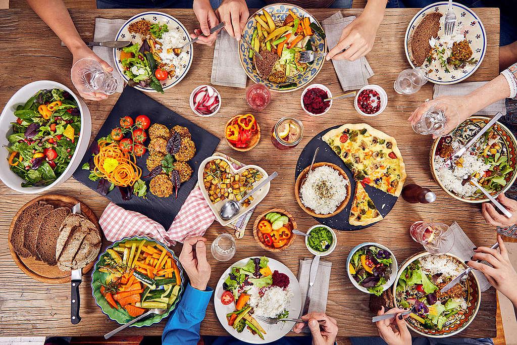 Variedad de comida vegana