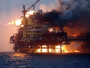 Oil Platform Fire Gulf of Mexico. © Greenpeace