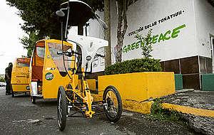 Bicitaxi eléctrico MX3 y Estación Solar Toatiuh