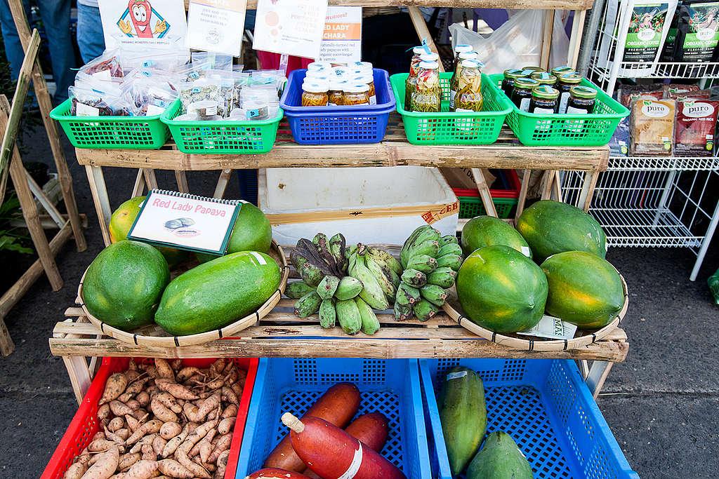 Hay mercados de productos orgánicos donde los productores independientes ponen a la venta sus hortalizas. ¡No dejes de buscar opciones! © Andri Tambunan / Greenpeace.
