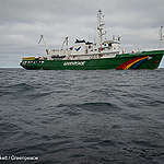 The Greenpeace ship, Esperanza, is seen in the Dogger Bank area of the North Sea.