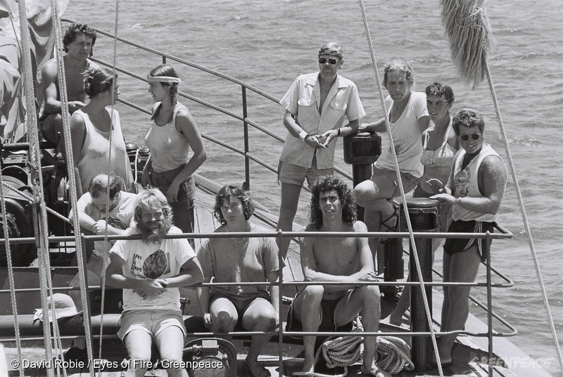 Crew aboard the Rainbow Warrior in April 1985